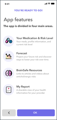 overview screen capture from the BrainSafe app