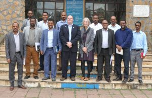 Dr. Brian Dixon and Dr. Theresa Cullen (center) with faculty and officials of the University of Gondar, Ethiopia